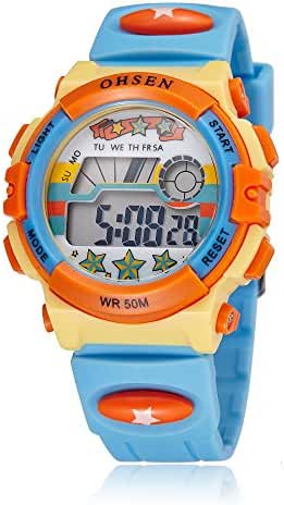 Kids Outdoor Sports Children's Waterproof Wrist Dress Watch Digital Alarm for Boy Girl Light Blue