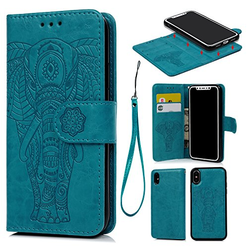 (iPhone X Case, iPhone Xs Wallet Case Premium PU Leather Oil Wax Embossed Elephant Detachable Magnetic Cover Credit Card Cash Slots Cover for iPhone X/XS (Blue))