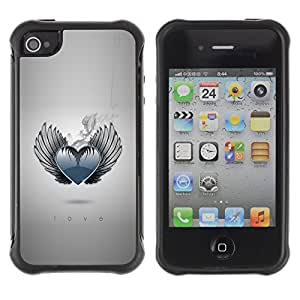 CAZZ Rugged Armor Slim Protection Case Cover Shell // cool heart love wings angel smoke monochr // Apple Iphone 4 / 4S
