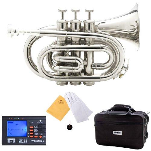 Trompeta de bolsillo Mendini níquel con accesorios (xmp)