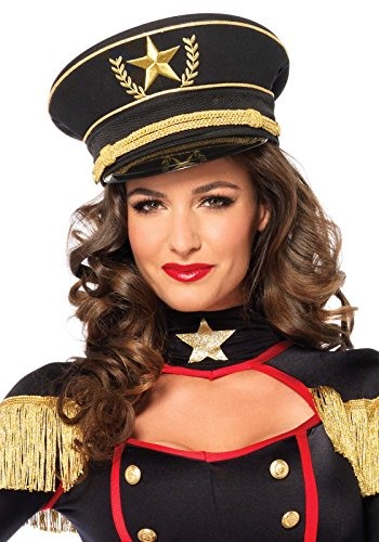 Leg Avenue Women's Military Hat Costume Accessory, Black, One -