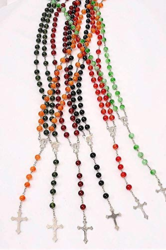 LOT of 12 Rosary Cross Necklace Bead Beaded Prayer Flower Rosary Crucifix Jesus IDE-473