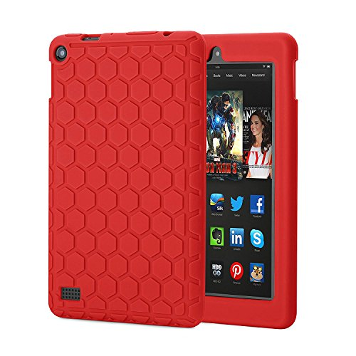 Fire 7 Case,Hanlesi Silicone [Kids Friendly] Light Weight Shock Proof Protective Cover for Amazon Fire 7 Tablet (7″ Display 5th Generation - 2015 release) -Red