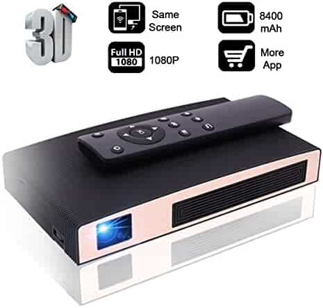 Mini Projector(2018 Upgraded), 8400mAh Rechargeable batteryMOTOU DLP Portable LED Projector Supports 3D/HDMI/USB/WIFI/1080P/iPhone/Android Multimedia outdoor for party/business/game/home