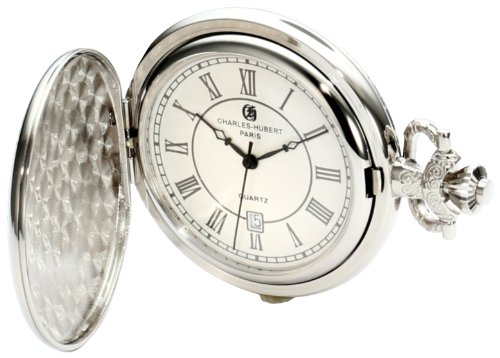 Charles-Hubert, Paris 3922 Classic Collection Chrome Finish Brass Quartz Pocket Watch (Pocket Date Watch Silver)