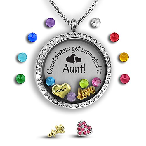 Best Sister Necklace for My Aunt Gifts | Aunt Jewelry Sister Jewelry | DIY Jewelry Set Best Aunt Gifts | Stainless Steel 30mm Authentic Floating Charm Locket | Memory Locket - Glasses How To Customize