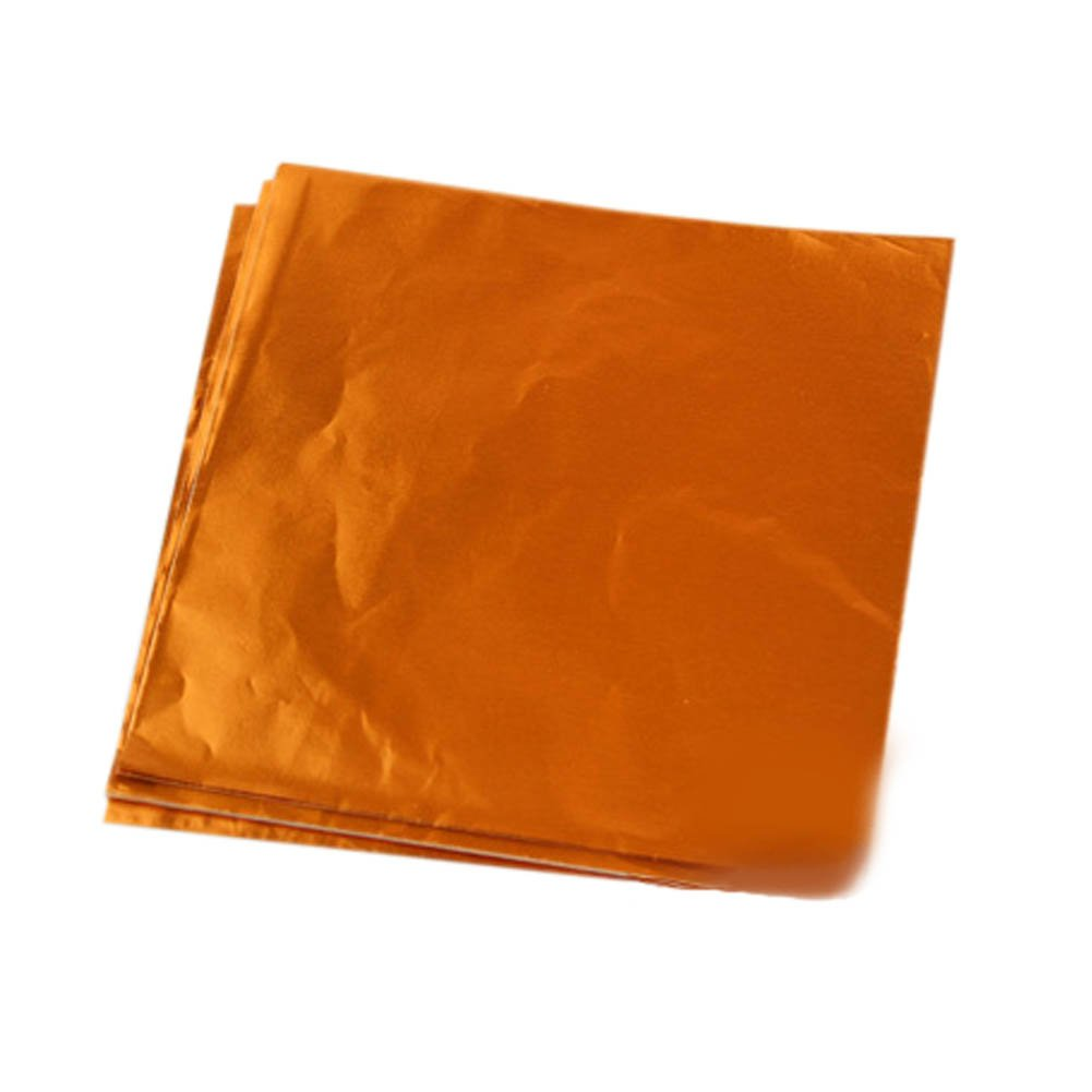 Blancho Bedding 100pcs Handmade Aluminum Foil Packaging Paper Candy Chocolate Thick Wrappers- Orange