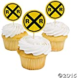 Fun Express Railroad Crossing Sign Cupcake Picks - 25 Pieces