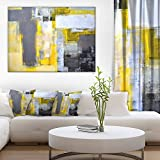 Grey and Yellow Blur Abstract Abstract Canvas Art Print