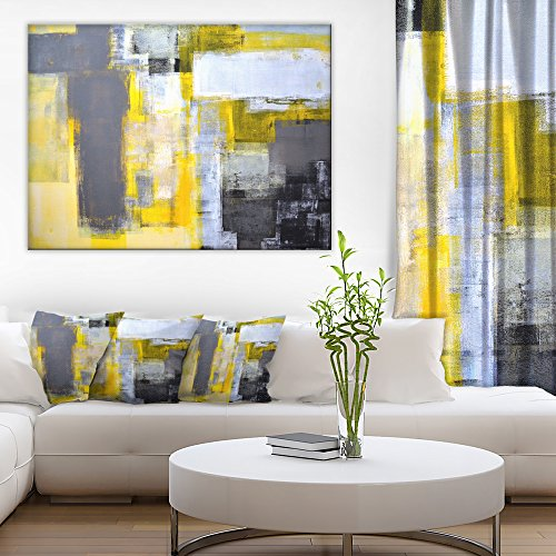 Grey and Yellow Blur Abstract Abstract Canvas Art Print by Design Art