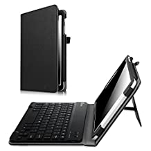 Fintie Samsung Galaxy Tab E 9.6 Keyboard Case - Slim Fit PU Leather Stand Cover with Premium Quality [All-ABS Hard Material] Removable Wireless Bluetooth Keyboard, Black