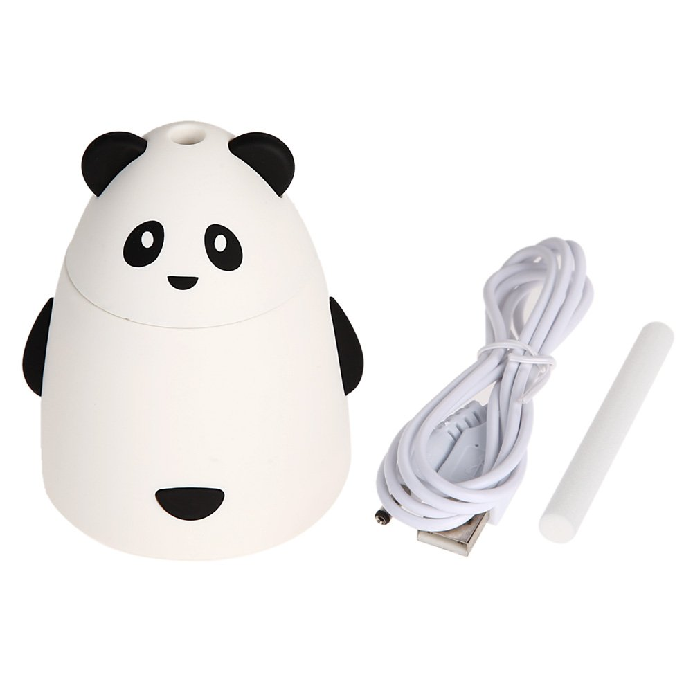 Whitelotous 80ml Portable Mini USB Humidifier Cute Panda Air Humidifier with USB Cable for Office Home (White)