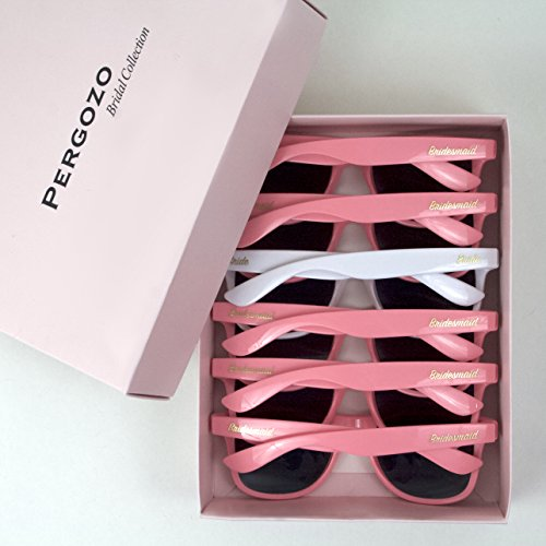Bride and Bridesmaid Sunglasses, Set of 6 (White & Pink) Wayfarer Style | Bridesmaid Gifts + Bride to Be Gifts + Bachelorette Gifts + Bridal Party Gifts + Bachelorette Party Gifts -