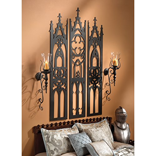 Design Toscano Gothic Cathedral Triptych Metal Wall Sculpture, Black