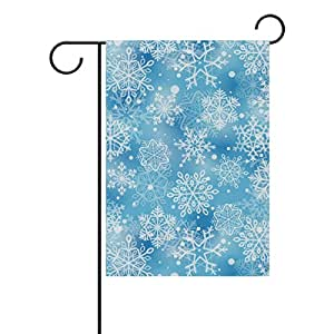 ALAZA Hipster feliz Navidad copos de nieve poliéster bandera de Jardín Casa Banner 12x 18inch, dos Sided bandera de bienvenida Patio Decoración para Boda Fiesta Decoración para el hogar
