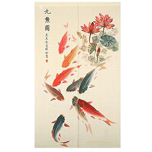 Xiaopangzi Chinese Curtains Tradtional Room Divider Polyster Door Curtain Kitchen Curtain Rich fish Design 85cm x 150cm (A)