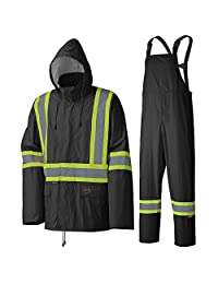 Pioneer V1080170-L Waterproof Lightweight Jacket and Pants Combo, Rainsuit, Black, L