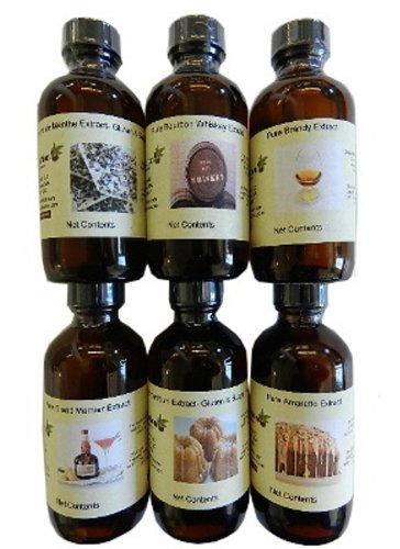Set of 6 Liquor Extracts (amaretto, creme de menthe, butter rum, Grand Marnie...