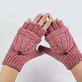 UEETEK Women Winter Warm Wool Knitted Convertible Fingerless Gloves With Mitten Cover (Pink)