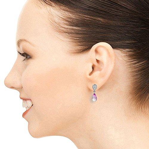 ALARRI 4.53 CTW 14K Solid White Gold I Ask For Love Pink Topaz Diamond Earrings by ALARRI (Image #2)