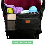 Stroller Organizer, Baby Organizers, Fits All Strollers, Extra-Large Storage Space Collapsible Frame Folds Design with 2 Deep Drink Holders & 1 Large Zippered Pouch The Perfect Baby Shower Gift!