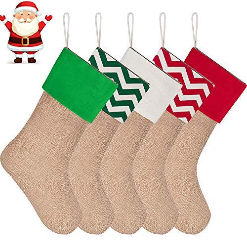 c30aa995f eKeRi 5 Styles 16inch Burlap Christmas Stockings Fireplace Hanging Stockings  for DIY   Gifts   Goodies