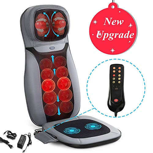 Shiatsu Neck & Back Massager - INTEY Massage Chair Pad with Heat and Vibrations, Full Back Kneading Massage Cushion for Home Office Car Use ()