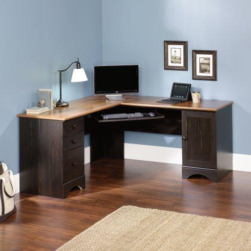 Sauder Harbor View Corner Computer Desk, Antiqued Paint Sauder