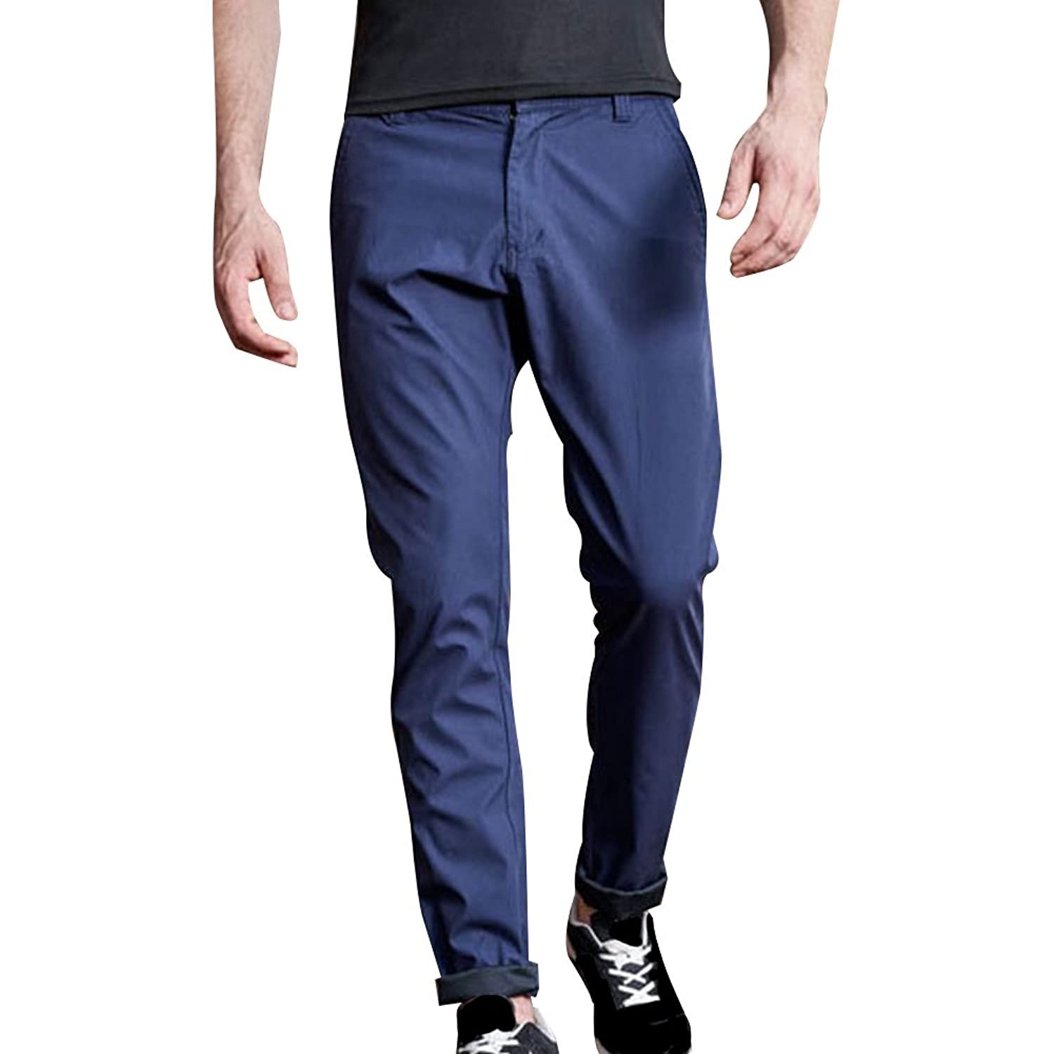 8823fa28fe Miskely Men's Straight Slim Fit Cotton Casual Athletic Pants Fashion  Business Work Stretch Chino Trousers Plus