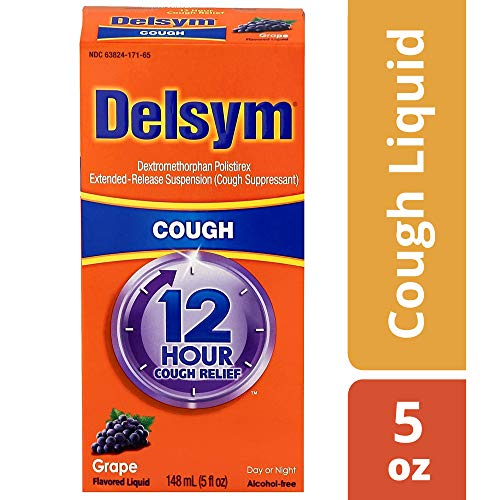 Delsym 12 Hour Cough Relief Liquid, Grape Flavor- Day Or Night Cough Suppressant With Dextromethorphan, Helps Quiet Cough By Suppressing Cough Reflex, 5 oz.