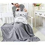 Stuffwholesale Fluffy Plush Totoro Throw Pillow with Blanket Winter Warm Cushion (Square pillow, 100*80cm)