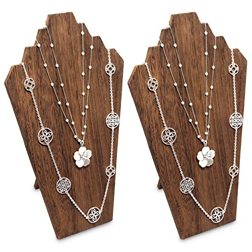 Ikee Design 2 pcs Set Lightweight Wood Jewelry Display Bust with Easel for 3 Necklaces, Brown Color ()