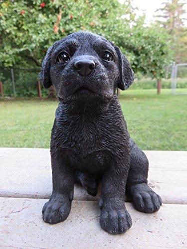 ChosenTreasures4You Black Lab Puppy Dog Figurine Sitting Black Lab Dog Figurine