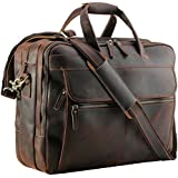 """Polare Men's Thick Full Grain Leather 17.3"""" Laptop Business Briefcase"""