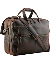 Polare Mens Thick Full Grain Leather Laptop Business Briefcase