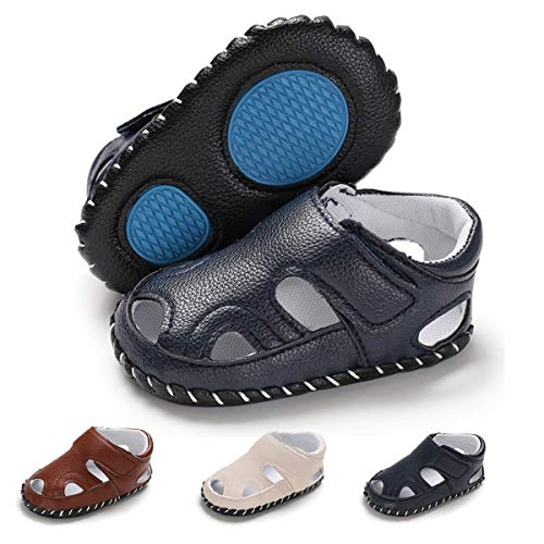 (COSANKIM Infant Baby Boys Girls Summer Sandals PU Leather Rubber Sole Outdoor Newborn Toddler First Walker Cirb Shoes (0-18 Months)(0-6 Months M US Infant,B-Navy Baby Shoes)