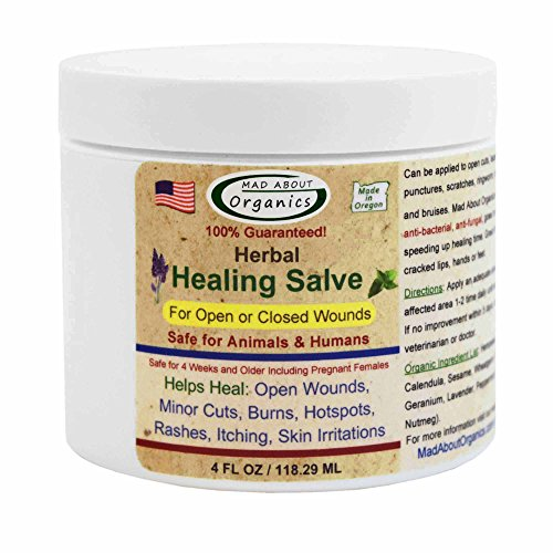 (Mad About Organics All Natural Herbal Skin Wound Healing Salve for All Pets 4oz)