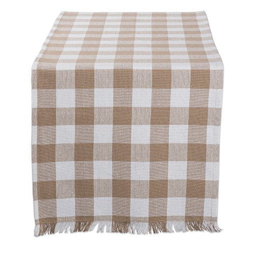 Dii Camz10443 Table Runner 14x72 Checkered Stone Brown