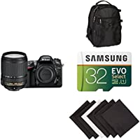 Nikon D7200 DX-format DSLR w/ 18-140mm VR Lens (Black) AmaoznBasics Accessory Bundle
