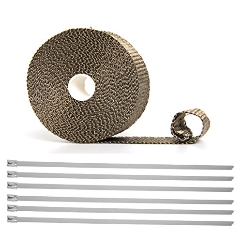 Hiwowsport Lava Titanium Exhaust Wrap Heat Shield of Twill Weave for Auto Manifold With 6pcs Locking Ties (1inch X 33 feet roll twill weave)