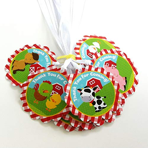Farm Animals Thank You Favor Tags - Boys and Girls Birthday Baby Shower Party Gift Tags - Set of 12