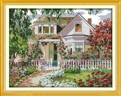Joy Sunday Cross Stitch kits Garden Villa,11CT Counted 55cm/×44 or 21.45/×17.16
