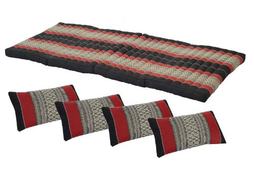 Comfort Zone Set: Foldable Matress + 4 Pillows in Traditional Thai Design Burgundy&black (All Filled with 100% Kapok) by Handelsturm