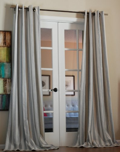 Stripe Linen Blend (Taylor Bold Stripe Linen blend 96 inch Curtain)