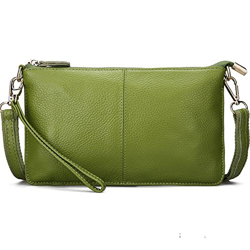 Wristlet Mynos Wallet Women Purse Leather Bag Green Crossbody Clutch Bag Smartphone Small Daily Genuine YYHvrqw