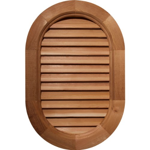 Ekena Millwork GVWVR24X3402SDPPI Primed, Decorative and Smooth Pine Vertical Round Ended Gable Vent with Decorative Face Frame