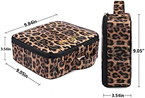 OXYTRA Travel Makeup Bag Leopard Print PU Leather Cosmetic Bag Organizer for Women Portable Multifunction Toiletry Bags with Adjustable Dividers