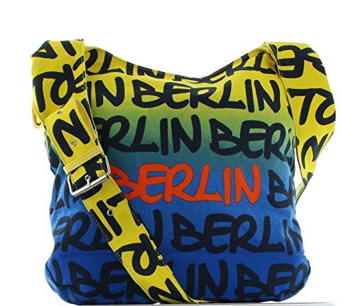 Robin Ruth, Borsa a spalla donna Multicolore Blu/Giallo