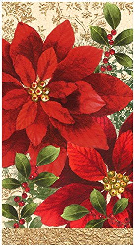"""C.R. Gibson 16 Count, 3-Ply, Paper Dinner Napkin, By Lenox Measures 4.75"""" x 8"""" - Vintage Poinsettia"""