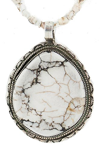 .925 Sterling Silver Certified Authentic Navajo Natural White Buffalo Turquoise Native American Necklace